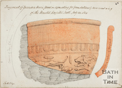 Fragment of Samian Ware found in excavations of new west wing of the United Hospital, Bath 1864