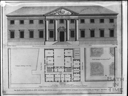 Plan and elevation, Mineral Water Hospital, Upper Borough Walls, Bath 1737