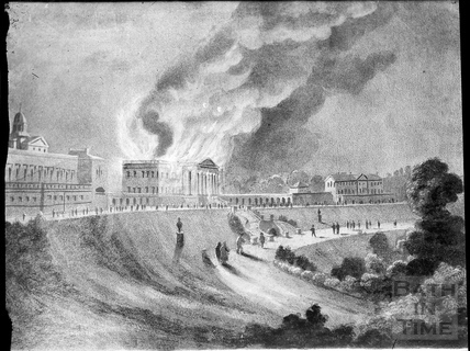 Print of Prior Park, Bath in flames