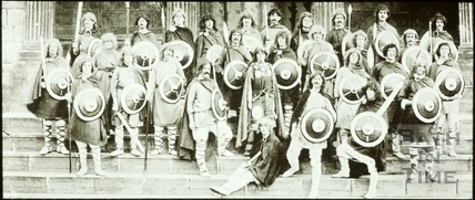 Bath Historical Pageant. Episode 2. Postal Officials as Saxon Warriors July 1909