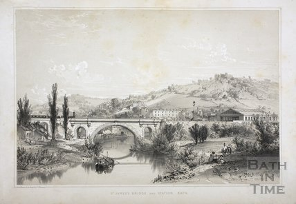 St. James's Bridge and Station, Bath c.1840