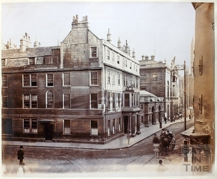View from Northgate Street showing corner of Bridge Street and High Street, Bath c.1890