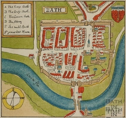 Early Map of Bath c.1568 or 1572