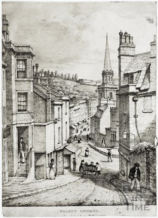 View from Guinea Lane towards Walcot Church, Bath c.1833