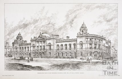Perspective View of New Municipal Buildings, Bath - Mr. J.M. Brydon FRIBA Architect 1892