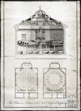 The Plans and Section of the New Octagon Chapel, Bath 1766