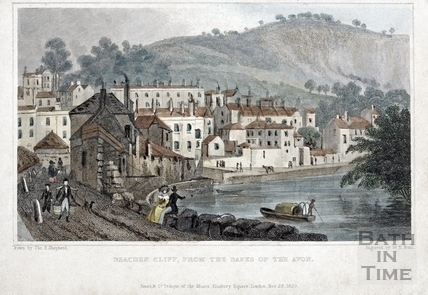 Beachen Cliff (Beechen Cliff), from the Banks of the Avon 1829