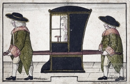 Joseph Basnett in sedan chair 1777