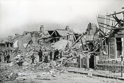Bomb damage in King Edward Road, Oldfield Park, Bath, April 1942
