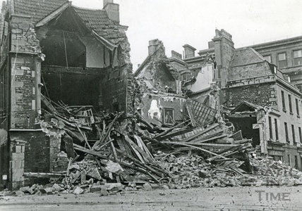 Abbey Church House, Bath, devastated after bombing in April 1942