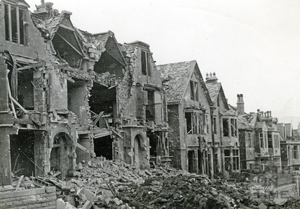 Blast damage in Marlborough Lane, Bath, April 1942