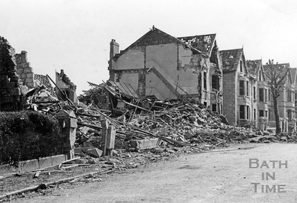 Bomb damage to homes in Lower Oldfield Park, Bath, April 1942