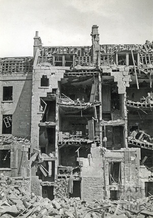 Backs of bombed houses in St James Parade, Bath, April 1942