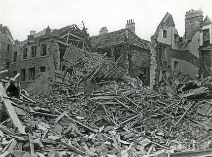 Bombed buildings in Kingsmead Street, Bath, April 1942