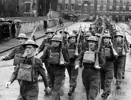 Baths Home Guard marching to the Recreation Ground, Bath, c.1940