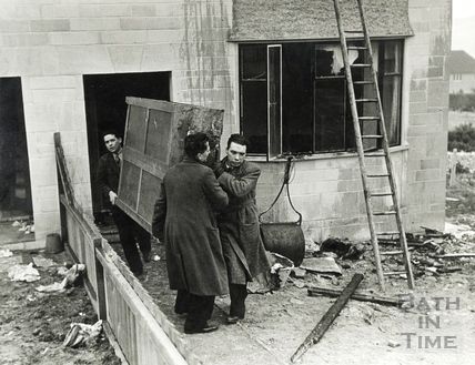 Damage to a semi detached house in Twerton from an isolated raid in January 1941