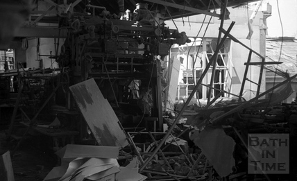 The damaged interior of the Mendip Press April 1942