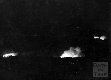 General early view of fires from the bombing raid in Bath, April 1942