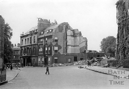 The corner of Circus Place, the destroyed Regina Hotel and Bennet Street, Bath, April 1942