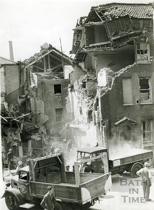 Two people were killed after this building took a direct hit, April 1942