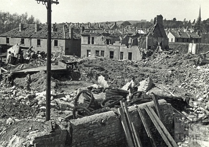 Roseberry Road, Bath after wartime bombing, April 1942