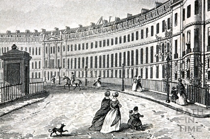 Lansdown Crescent c.1845, showing what could be a telescope on the roof of Nos 7/8