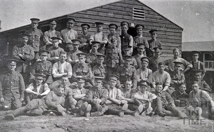 A WW1-era group of soldiers at a training base