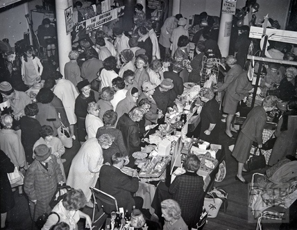 Charity sale, including stalls from the British Polio Fellowship. Date unknown.