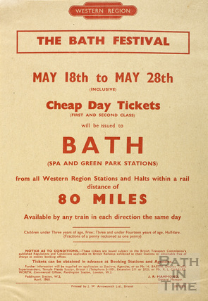 The Bath Festival May 18th-28th 1960 railway poster