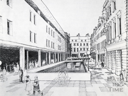 Artists impression of proposed cutting taking traffic under New Bond Street to Monmouth Place 1965