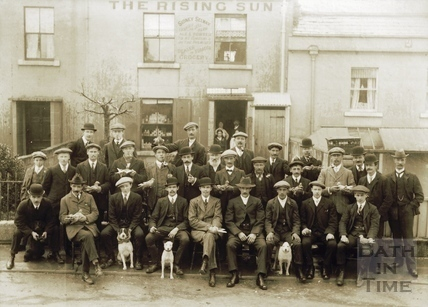 A gathering of pigeon fanciers outside the Rising Sun, Richmond Place c.1920