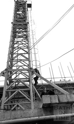 Adam Fergusson and Lord Snowdon climb down the tower crane at the Beaufort (Hilton) Hotel March 1972