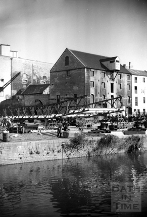Temporary bridge over the Avon, with Broad Quay in the background c.1964