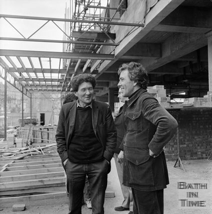 Lord Snowdon greets a site worker at the Beaufort Hotel, Walcot Street March 1972