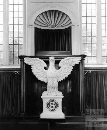 Close up of the eagle on the dais of the United Reformed Church, Vineyards. Feb 1983