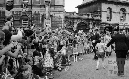 The Queen on walkabout outside the Guildhall August 1977