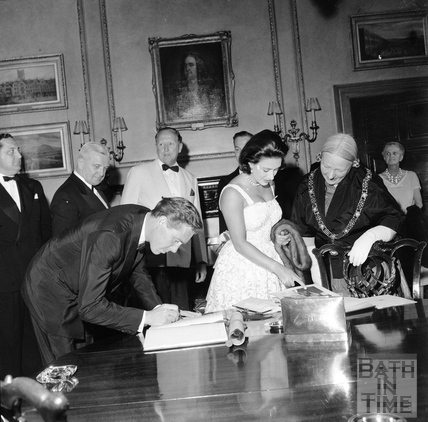 Princess Margaret, Lord Snowdon, Ted Leather and Mayor Mrs. Guielma Maw in the Guildhall, June 1962
