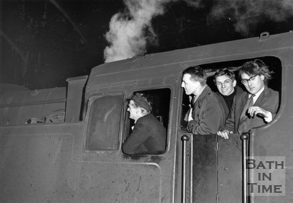 Driver Arthur Cannings takes the last shunter out with his three passengers May 1961