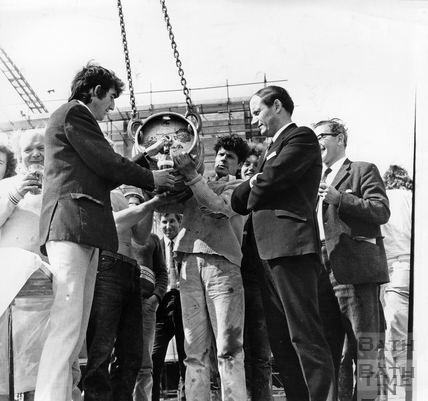The topping out ceremony at Bath Corporation's multi-deck car park in Walcot Street. June 1972