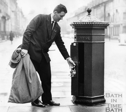 Postman Keith Costello collecting from the Emett-like post box in Great Pulteney Street April 1970