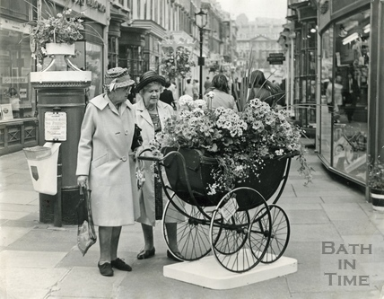 Examining an entry for the Bath in Bloom competition, Old Bond Street June 1970