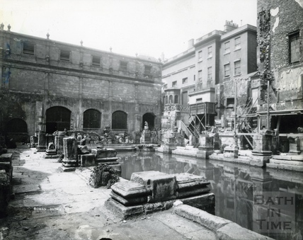 An early view of the Roman Great Bath, looking towards the Kings and Queens Bath c.1890