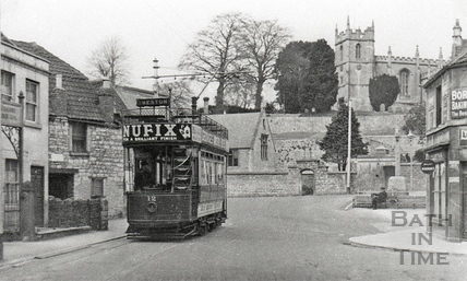 Tram no 12 at the terminus at Weston c.1930s