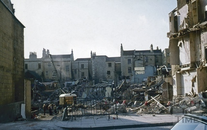 Southgate Street, Bath demolition, 1st week, looking west from the centre of Newark Street 30 Sept 1971