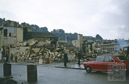 Southgate Street, Bath demolition, looking South west across Silver Sands 18 Oct 1971