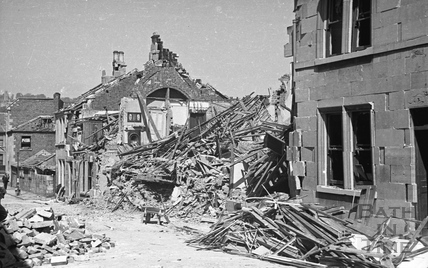 Bomb damage on the east side of Westmoreland Street off the Lower Bristol Road, April 1942