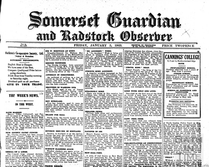 Somerset Guardian and Radstock Observer Jan 5 1923