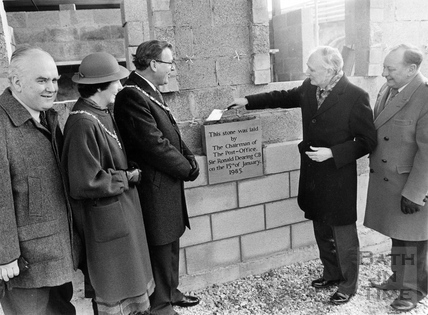 Laying the foundation stone for the new Post Office sorting Office 15 Jan 1985