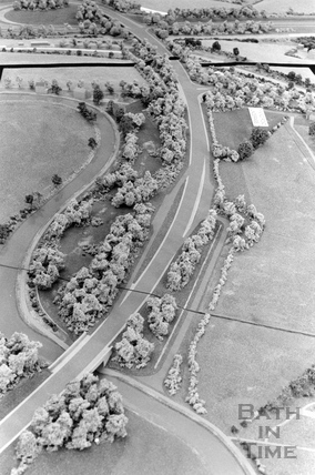 The A36 link road viewed from Bathampton shown crossing the Kennet and Avon Canal 1990