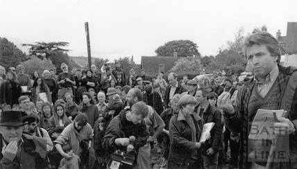 Jonathan Dimbleby addresses the media a local residents during a protest rally 25 May 1994